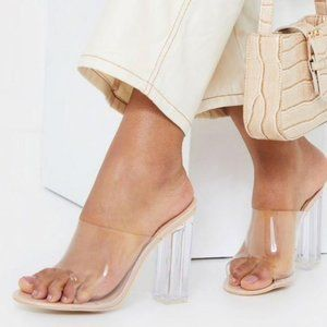 Shoes - !! RESTOCKED !! Clear Peep Toe Block Heels in Nude